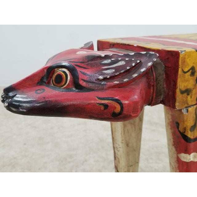 1950s Wood Carved Tiger Table Bench For Sale - Image 10 of 13