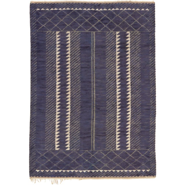 1940s Swedish Pile & Flat Weave Rug by Barbro Nilsson- 7′2″ × 10′ For Sale - Image 5 of 5