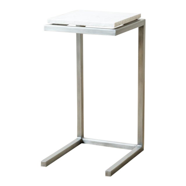 Mid-Century Modern Style Rectangle Steel Patio Side Table For Sale