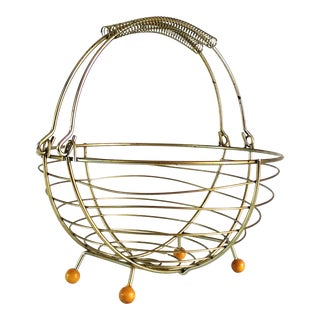 1960s Mid Century Modern Brass Wire Footed Basket For Sale