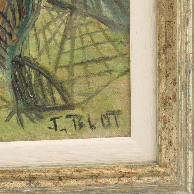 French J. Blot France Modernist Interior With Spider Web Acrylic on Canvas Painting For Sale - Image 3 of 11