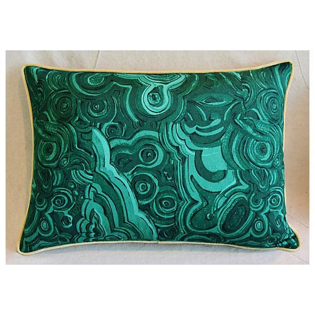 Pair of custom-tailored pillows in a vintage/never used cotton fabric depicting a rich emerald green malachite pattern...