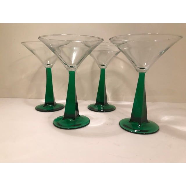 1970s Mid-Century Modern Green Stem Martini Glasses - Set of 4 For Sale In Sacramento - Image 6 of 6