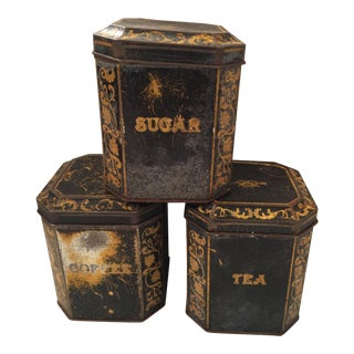 Vintage English Tin Canisters - Set of 3