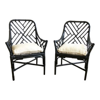 Vintage Black Painted Fretwork Rattan Arm Chairs - a Pair