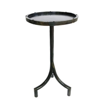 Industrial New Hand Forged Blackened Steel Drink Table For Sale