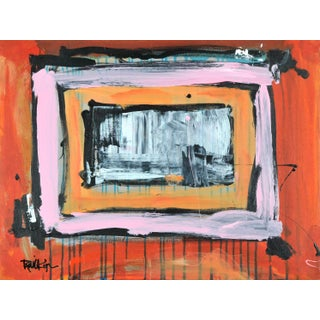 """""""Orange Pink Orange"""" Contemporary Abstract Expressionist Acrylic Painting by Robbie Kemper For Sale"""