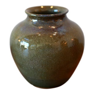 Handmade Green Glaze Studio Pottery Ceramic Vessel For Sale