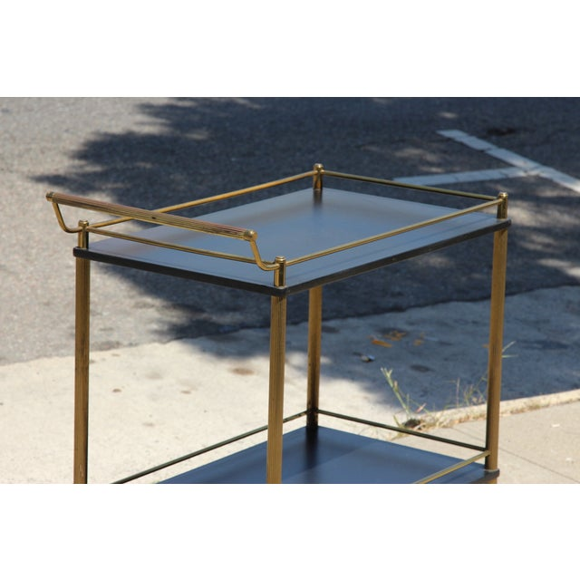 Maxwell Phillips Maxwell Phillip Brass Bar Cart With Black Shelves For Sale - Image 4 of 9