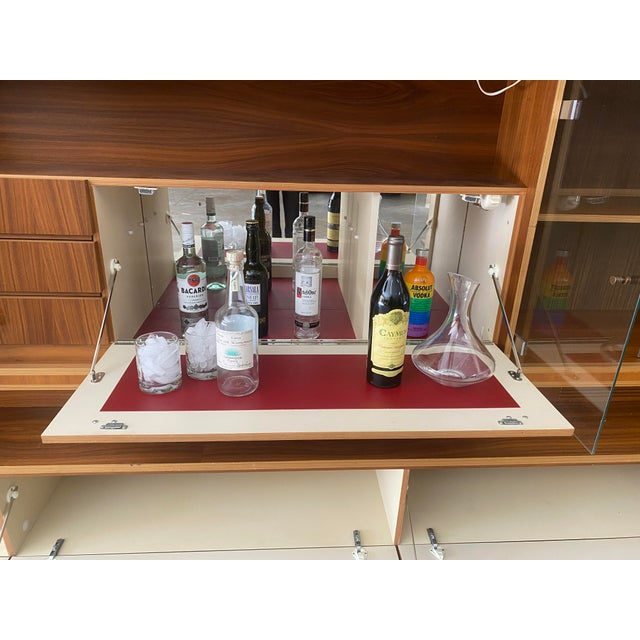 1970s West Germany MCM Mid Century Modern Wood Wall Unit Bar Cabinet For Sale - Image 4 of 13