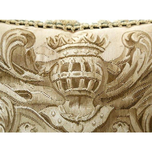 French Amorial with Lions Aubusson Pillow - A Pair For Sale - Image 3 of 6