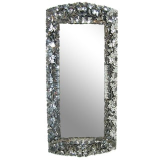 Floral Hand-Cut Glass Mirror For Sale