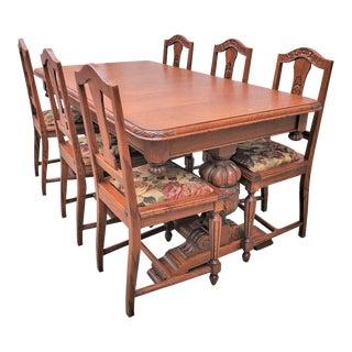Antique Renaissance Revival Carved Oak Long Pedestal Dining Set - 7 Pieces For Sale