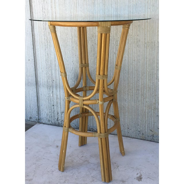 20th Century Set of Four High Round Cocktail Table in Faux Bamboo With Glass Top For Sale - Image 4 of 11