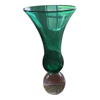 Antique Green and Crystal Bubble Vase For Sale