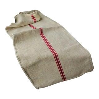 Vintage Washed Linen Red Green Stripe Christmas Fabric Grain Sack Bag For Sale