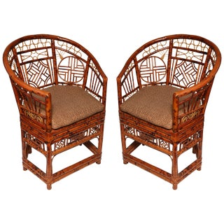Chinese Brighton Bamboo Barrel Back Armchairs - a Pair