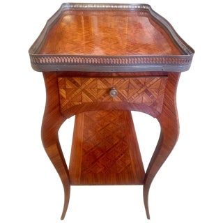 Gorgeous 19th Century Marquetry Side Table With Bronze Gallery For Sale