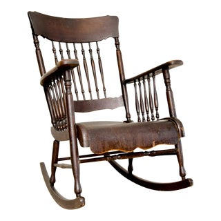 Antique Victorian Wood Spindleback Rocking Side Chair For Sale
