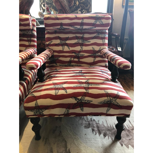 American Red White and Blue Upholstered Club Chairs- a Pair For Sale - Image 3 of 13