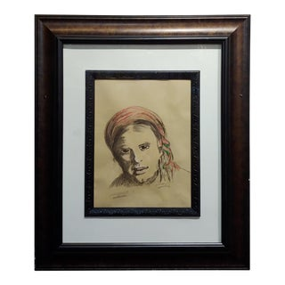 Leon Wyczólkowski -Portrait of a Woman in a Red Headscarf-Pastel Drawing on Paper For Sale