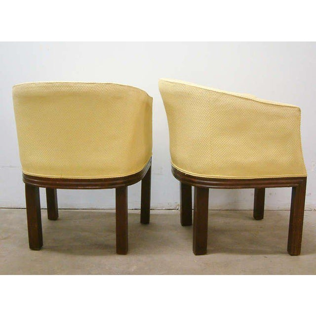 Circa 1950 Mid-Century Upholstered Yellow Arm Chairs - Pair For Sale - Image 4 of 11