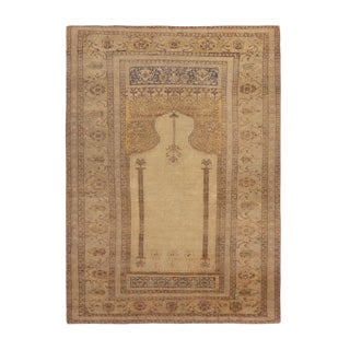 Antique Kayseri Traditional Tan Beige Wool Rug 4′2″ × 5′9″ For Sale