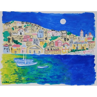 Greek Island Seascape Impressionist Painting by Cleo For Sale