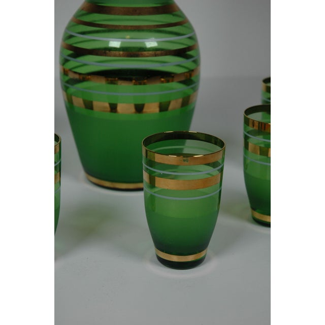 1960's Green Glass Bohemian Decanter Set - Image 5 of 6