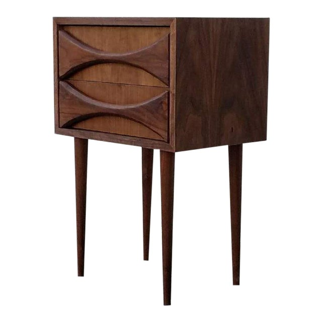 Sculpted Front Nightstand in American Walnut For Sale