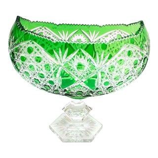 Antique Green Cut to Clear Crystal Fruit Bowl For Sale