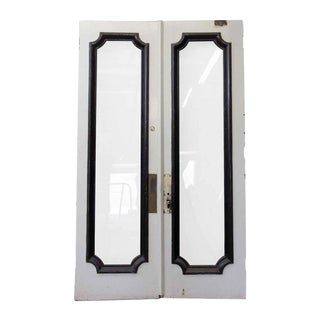 Tall Double Swing Doors With Full Glass Panel - a Pair