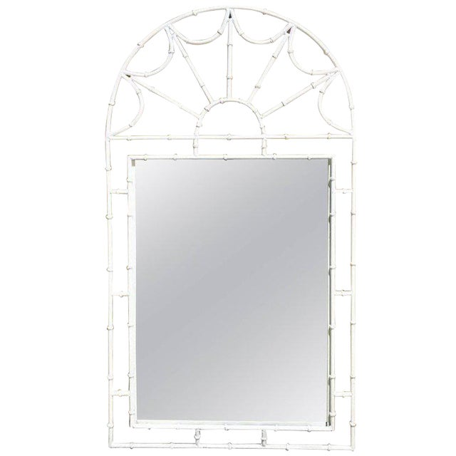 Midcentury Faux Bamboo Iron Mirror in White For Sale