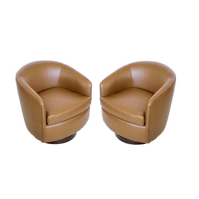 Milo Baughman Milo Baughman for Thayer Coggin Tilt & Swivel Lounge Chairs - A Pair For Sale - Image 4 of 8
