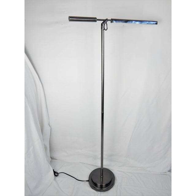 Brushed Chrome Fluorescent Floor Lamp For Sale - Image 9 of 11