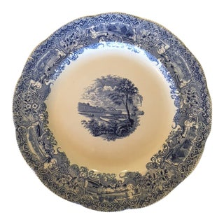 Antique Transferware Large Round Blue Platter For Sale