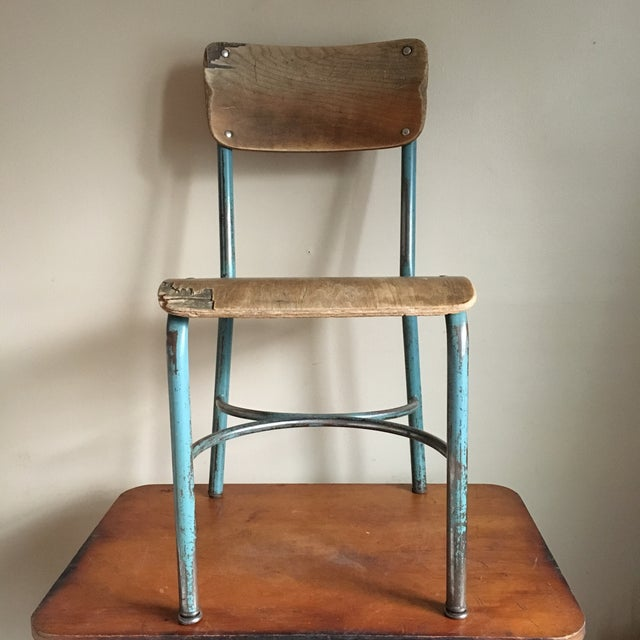 Industrial Industrial Vintage Wood & Metal School Chair For Sale - Image 3 of 9