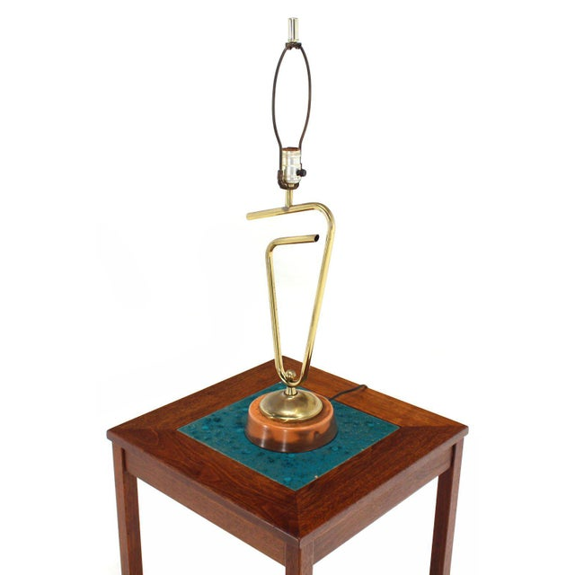 Mid 20th Century Sculptural Brass Table Lamp For Sale - Image 5 of 7