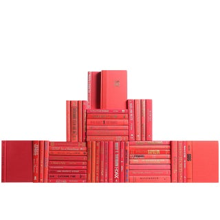 Modern Red Book Wall - Set of 50