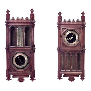 Victorian Gothic Revival Barometer/Thermometer For Sale