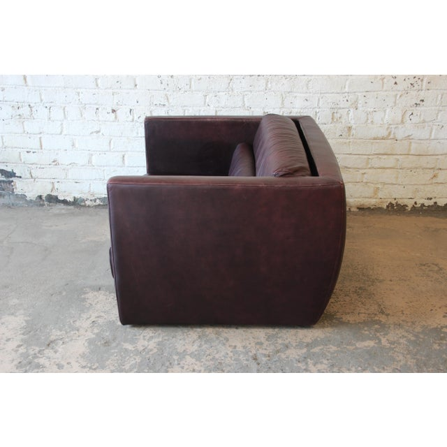 Animal Skin Roche Bobois Bauhaus Style Leather Loveseat or Cube Chair, 1970s For Sale - Image 7 of 12