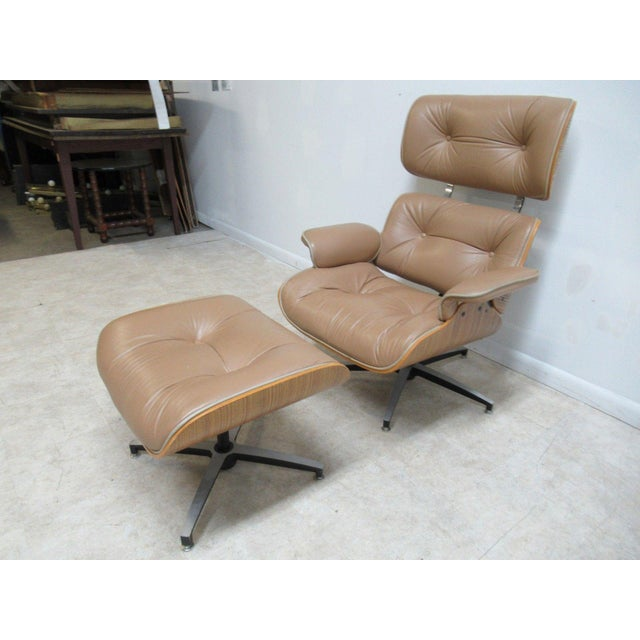 Vintage Mid Century Leather Zebra Wood Lounge Chair & Ottoman - Image 2 of 12