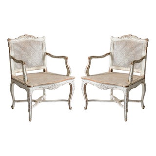 20th Century French Country Style Caned Bergeres Chairs, A-Pair For Sale
