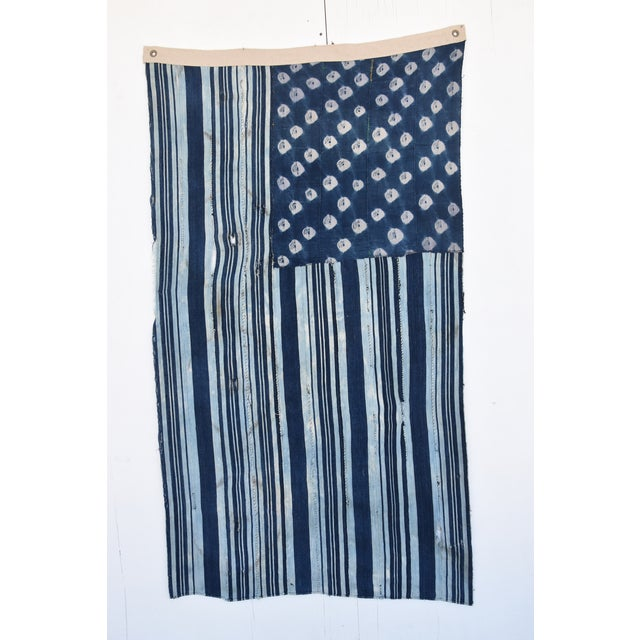 Custom Tailored Blue & White Flag Created From Vintage African Fabrics - Image 11 of 11