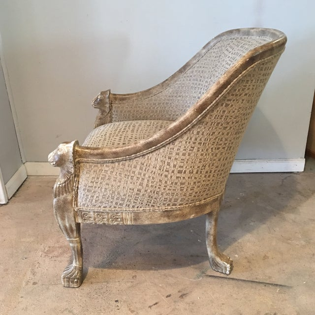 Tan Neoclassical Lions Head Barrel Back Arm Chair For Sale - Image 8 of 11