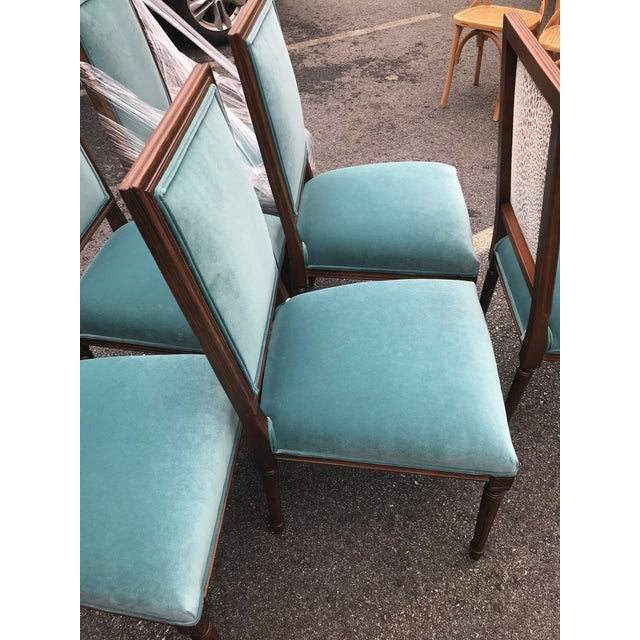 Custom Teal Velvet Dining Chairs - Set of 6 - Image 4 of 7