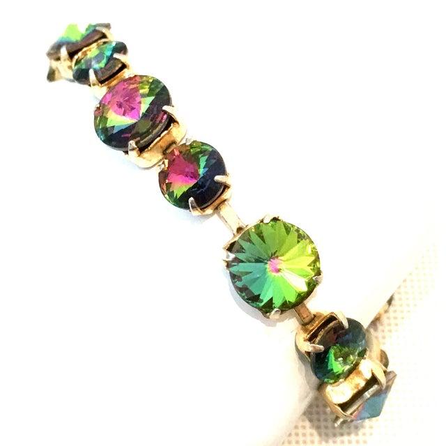 20th Century Gold Plate & Austrian Crystal Rivoli Watermelon Link Bracelet For Sale - Image 4 of 11