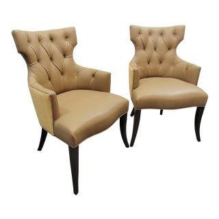 Modern Design Tufted Leather & Raffia Chairs - a Pair For Sale