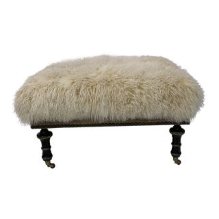 Lambs Wool Bench With Leather For Sale