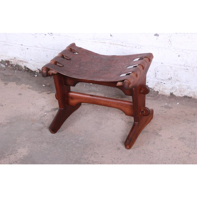 Angel Pazmino Teak and Leather Rocking Chair With Ottoman, Ecuador, 1960s For Sale - Image 9 of 12
